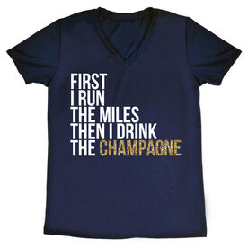 Women's Running Short Sleeve Tech Tee - Then I Drink The Champagne