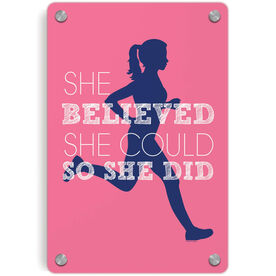 Running Metal Wall Art Panel - She Believed She Could So She Did (Silhouette)