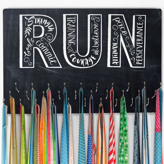 Running Large Hooked on Medals Hanger - Run With Inspiration ChalkBoard