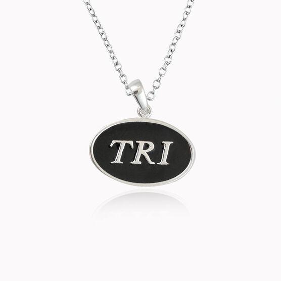 Sterling Silver and Black Enamel Triathlon Necklace