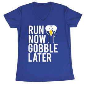 Women's Running Short Sleeve Tech Tee - Run Now Gobble Later (Bold)