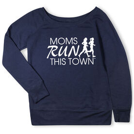 Running Fleece Wide Neck Sweatshirt - Moms Run This Town Logo (White)