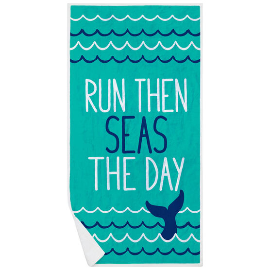 Running Premium Beach Towel - Run Then Seas The Day