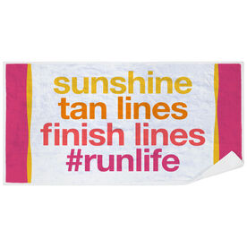 Running Premium Beach Towel - Sunshine Tan Lines Finish Lines