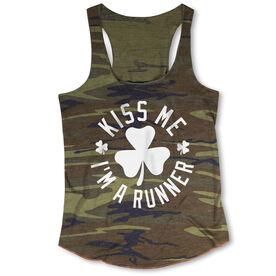Running Camouflage Racerback Tank Top - Kiss Me I am a Runner Shamrock
