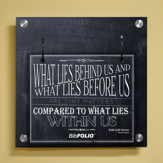 Personalized Chalkboard What Lies Behind Us Wall BibFOLIO® Display