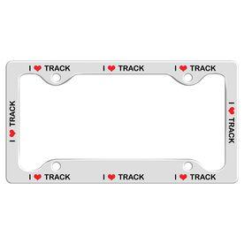 I Heart Track License Plate Holder