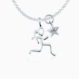 Sterling Silver Stick Figure Runner with Sterling Silver 5K Star Necklace