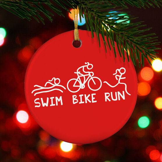 Triathlon Porcelain Ornament Swim Bike Run Figures Female
