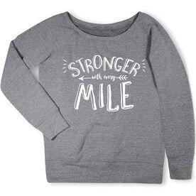 Running Fleece Wide Neck Sweatshirt - Stronger With Every Mile