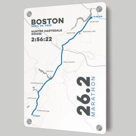 Running Metal Wall Art Panel - Boston 26.2 Route