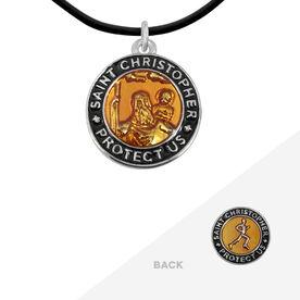 Runners St. Christopher Medal Necklace - Orange/Black (1.9cm)