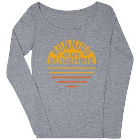 Women's Runner Scoop Neck Long Sleeve Tee - Running is My Sunshine