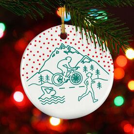 Triathlon Porcelain Ornament Tri Crest Snowflakes