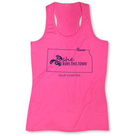 Women's Performance Tank Top - She Runs This Town Kansas Runner