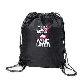 Running Sport Pack Cinch Sack Run Now Wine Later (White/Pink)