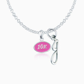 Sterling Silver and Pink Enamel Mini 10K Pendant Necklace