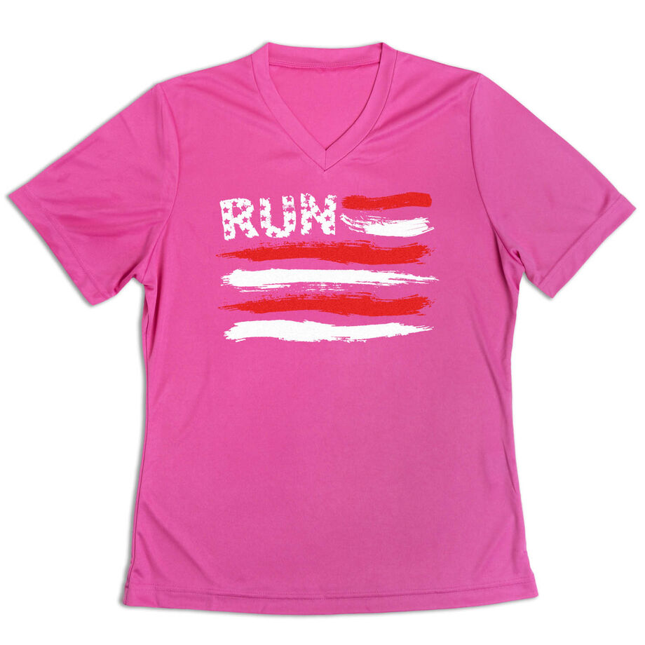 Women's Short Sleeve Tech Tee - Run For The Red White and Blue