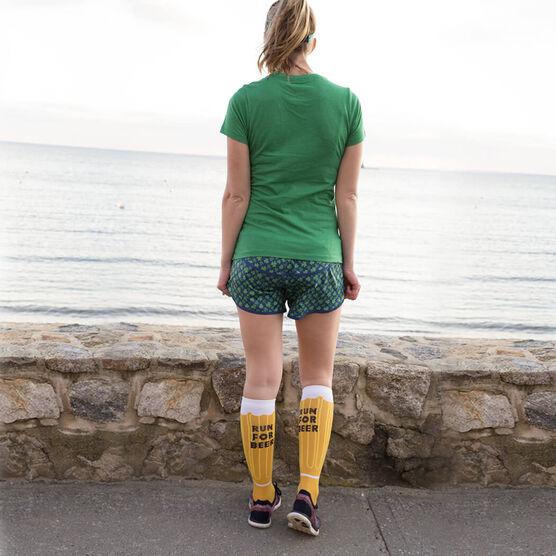 Woven Yakety Yak! Knee High Socks - Will Run For Beer (Amber/Brown/White)