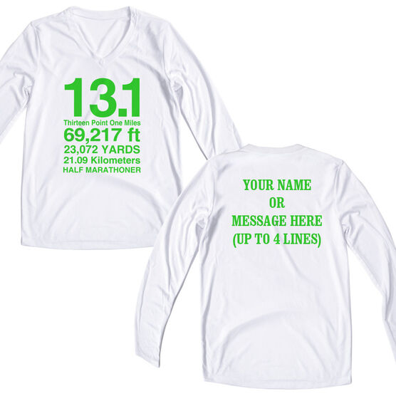 Women's Customized White Long Sleeve Tech Tee 13.1 Math Miles