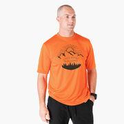Men's Running Short Sleeve Tech Tee - Life's Short Run Long (Mountains)