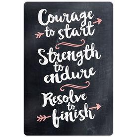 "Running 18"" X 12"" Aluminum Room Sign - Chalkboard Courage To Start"