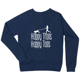 Running Raglan Crew Neck Sweatshirt - Happy Trails Happy Tails