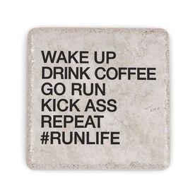 Running Stone Coaster - Wake Up Drink Coffee Go Run #runlife