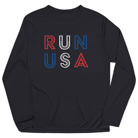 Men's Running Long Sleeve Performance Tee - Run USA