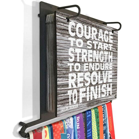 BibFOLIO+™ Race Bib and Medal Display Courage, Strength, Resolve (Rustic)