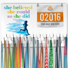 Running Large Hooked on Medals and Bib Hanger - She Believed She Could