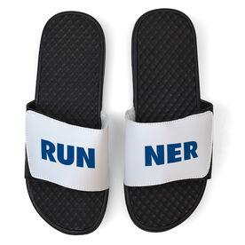 Running White Slide Sandals - RUNNER Text