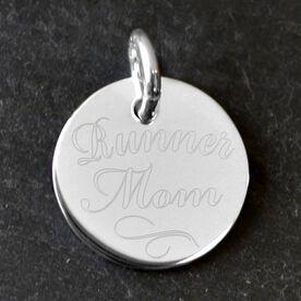 Sterling Silver Runner Mom Engraved 20mm Pendant Charm