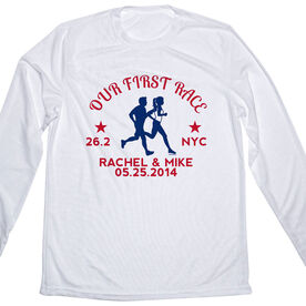 Men's Customized White Long Sleeve Tech Tee Our First Race