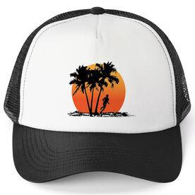 Running Trucker Hat Find Lost Male Silhouette