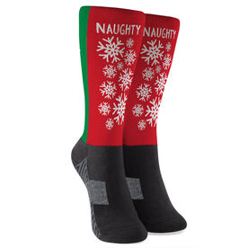 Running Printed Mid-Calf Socks - Naughty or Nice