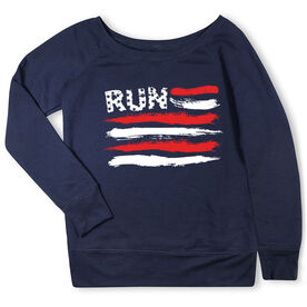 Running Fleece Wide Neck Sweatshirt - Run For The Red White and Blue