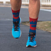 Running Printed Mid-Calf Socks - Philadelphia Skyline