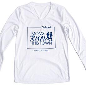 Women's Running Long Sleeve Tech Tee - Moms Run This Town Colorado Runner