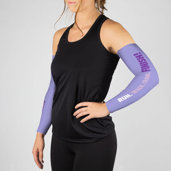 Running Printed Arm Sleeves - Run. Walk. Crawl. FINISH!