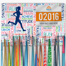 Running Large Hooked on Medals and Bib Hanger - Inspirational Words Female