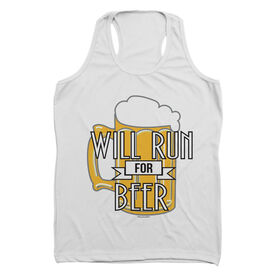 Women's Customized Performance Tank Top Will Run For Beer (White Tank Top)