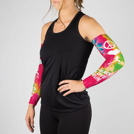 Running Printed Arm Sleeves - Peace Love Run