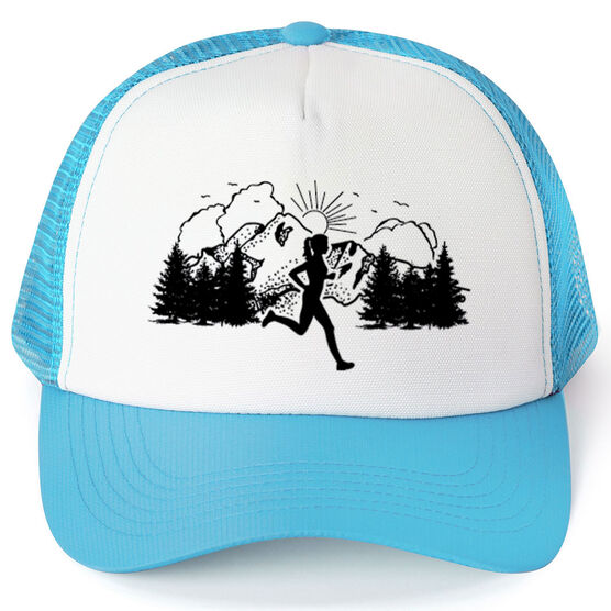 Running Trucker Hat - Mountain Female Runner