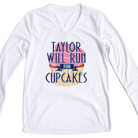 Women's Customized White Long Sleeve Tech Tee Will Run For Cupcakes