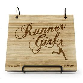 Engraved Bamboo Wood BibFOLIO® Race Bib Album - Runner Girl