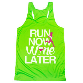 Women's Racerback Performance Tank Top - Run Now Wine Later (Bold)