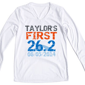 Women's Customized White Long Sleeve Tech Tee First Marathon (Distressed)
