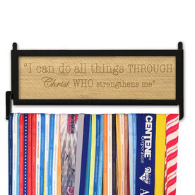 RunnersWALL Engraved Bamboo Medal Display I Can Do All Things Through Christ