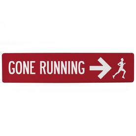 "Running Aluminum Room Sign - Gone Running Guy (4""x18"")"